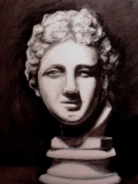 Charcoal drawing of Roman Emporer by Sue Farrington 2014