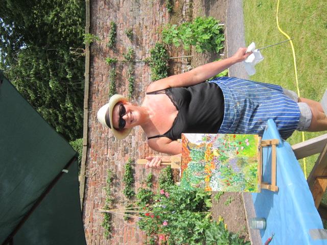 Jane Percival Stewart at my Burton Manor Plein Air Painting Day