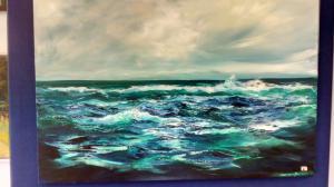Prize winning Seascape at Bickerton Art Exhibition 2017
