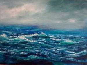 Storm Brewing seascape SOLD