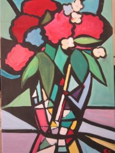 Cloisonnism flower painting